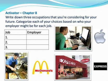 Activator – Chapter 8 Write down three occupations that you're considering for your future. Categorize each of your choices based on who your employer.