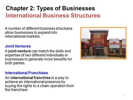 1 Chapter 2: Types of Businesses International Business Structures A number of different business structures allow businesses to expand into international.