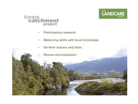 Participatory research Balancing skills with local knowledge On-farm actions and trials Review and evaluation.