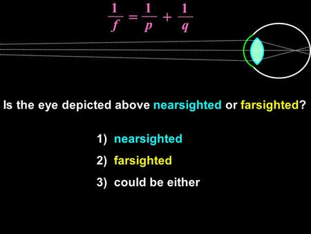 Is the eye depicted above nearsighted or farsighted? 1) nearsighted 2) farsighted 3) could be either 1 f 1 p 1 q = +
