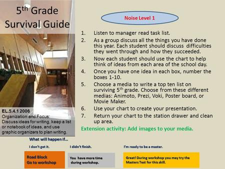 5 th Grade Survival Guide 1.Listen to manager read task list. 2.As a group discuss all the things you have done this year. Each student should discuss.