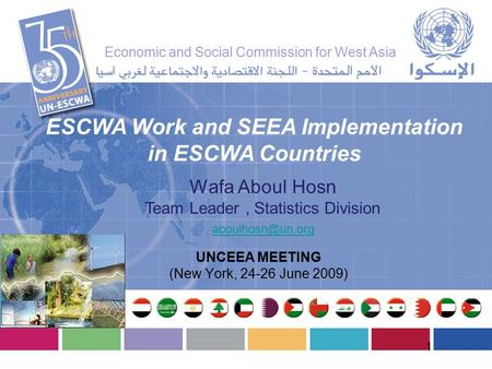 Wafa Aboul Hosn Team Leader, Statistics Division ESCWA Work and SEEA Implementation in ESCWA Countries UNCEEA MEETING (New York, 24-26.