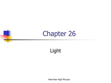Chapter 26 Light Herriman High Physics. The Definition of Light The current scientific definition of Light is a photon carried on a wave front. This definition.