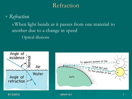 Refraction   Refraction   When light bends as it passes from one material to another due to a change in speed Optical illusions 9/13/2015APHY1011.