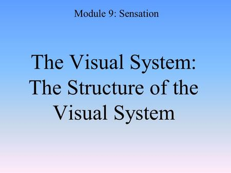 The Visual System: The Structure of the Visual System Module 9: Sensation.