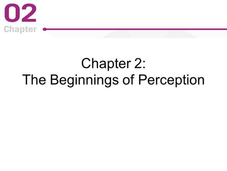 Chapter 2: The Beginnings of Perception. Figure 2-1 p22.