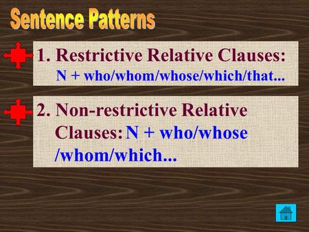 1. Restrictive Relative Clauses: N + who/whom/whose/which/that... 2. Non-restrictive Relative Clauses: N + who/whose /whom/which...