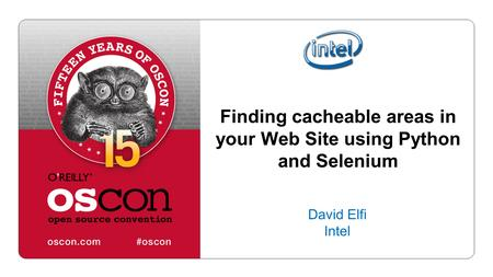 Finding cacheable areas in your Web Site using Python and Selenium David Elfi Intel.