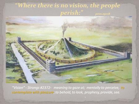 "1 ""Where there is no vision, the people perish:"" prov.29v18 to contemplate with pleasure ""Vision"" - Strongs #2372- meaning to gaze at; mentally to perceive,"