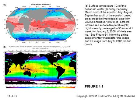 FIGURE 4.1 (a) Surface temperature (°C) of the oceans in winter (January, February, March north of the equator; July, August, September south of the equator)