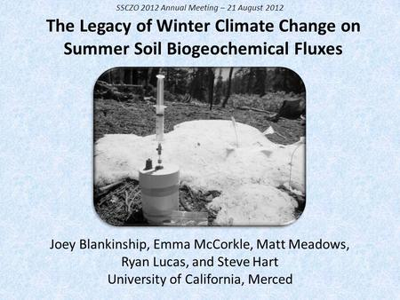 The Legacy of Winter Climate Change on Summer Soil Biogeochemical Fluxes Joey Blankinship, Emma McCorkle, Matt Meadows, Ryan Lucas, and Steve Hart University.