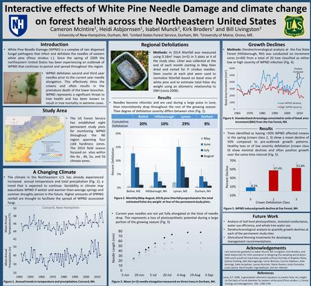 Interactive effects of White Pine Needle Damage and climate change on forest health across the Northeastern United States Cameron McIntire 1, Heidi Asbjornsen.