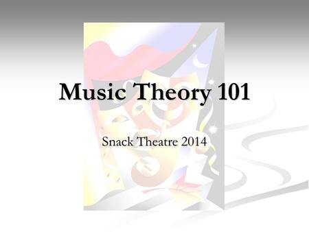 Music Theory 101 Snack Theatre 2014. Quick Review – Staff, Clef, System A staff is made up of five horizontal lines and four spaces A staff is made up.