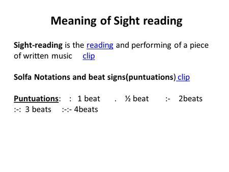Meaning of Sight reading