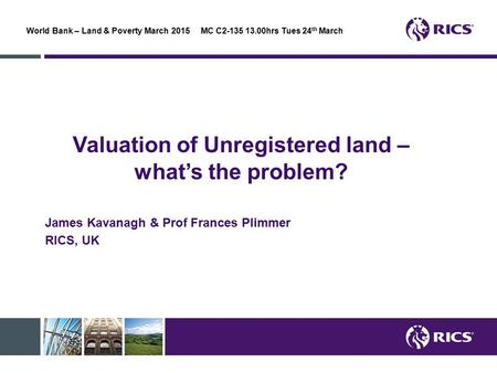 Valuation of Unregistered land – what's the problem?