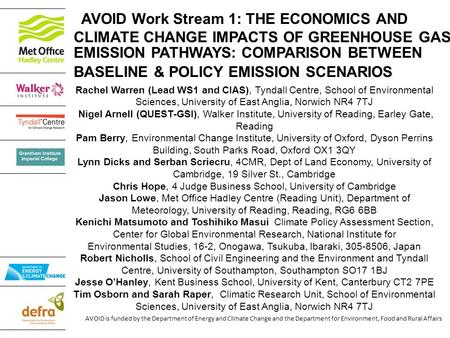 AVOID is funded by the Department of Energy and Climate Change and the Department for Environment, Food and Rural Affairs AVOID Work Stream 1: THE ECONOMICS.