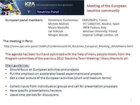 The meeting in Paris:  The agenda has been built and optimized.