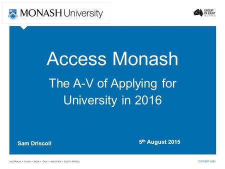 The A-V of Applying for University in 2016
