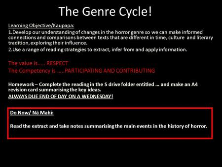 The Genre Cycle! Learning Objective/Kaupapa: 1.Develop our understanding of changes in the horror genre so we can make informed connections and comparisons.