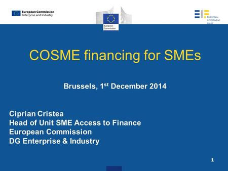 COSME financing for SMEs Brussels, 1 st December 2014 Ciprian Cristea Head of Unit SME Access to Finance European Commission DG Enterprise & Industry 1.