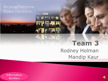 Rodney Holman Mandip Kaur Information Builders  Company Name: Information Builders  CEO and Founder: Gerald D. Cohen  Address: Two Penn Plaza, New.