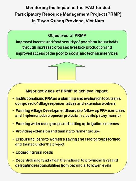 Monitoring the Impact of the IFAD-funded Participatory Resource Management Project (PRMP) in Tuyen Quang Province, Viet Nam Objectives of PRMP Improved.