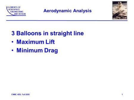 ELEMENTS OF AEROSPACE ENGINEERING AND DESIGN ENME 489L Fall 20061 Aerodynamic Analysis 3 Balloons in straight line Maximum Lift Minimum Drag.