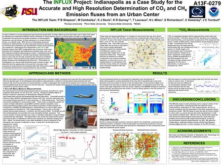 The INFLUX Project: Indianapolis as a Case Study for the Accurate and High Resolution Determination of CO 2 and CH 4 Emission fluxes from an Urban Center.