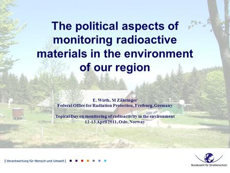 The political aspects of monitoring radioactive materials in the environment of our region E. Wirth, M Zähringer Federal Office for Radiation Protection,