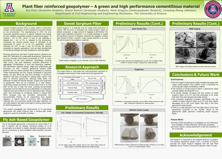 Plant fiber reinforced geopolymer – A green and high performance cementitious material Rui Chen (Graduate Student), Saeed Ahmari (Graduate Student), Mark.