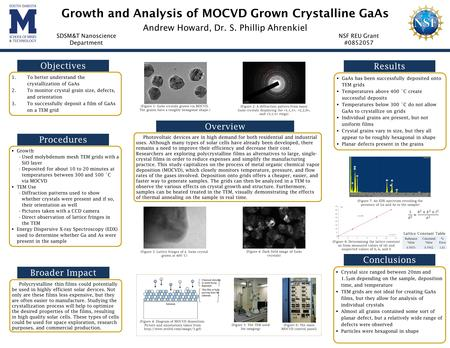 Growth and Analysis of MOCVD Grown Crystalline GaAs Andrew Howard, Dr. S. Phillip Ahrenkiel SDSM&T Nanoscience Department NSF REU Grant #0852057 Objectives.