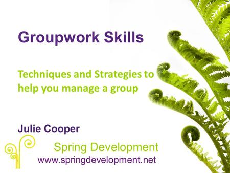 Groupwork Skills Techniques and Strategies to help you manage a group Julie Cooper Spring Development www.springdevelopment.net.