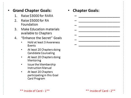 "Grand Chapter Goals: 1.Raise $3000 for RARA 2.Raise $5000 for RA Foundation 3.Make Education materials available to Chapters 4.""Enhance the Secret"" Goals."