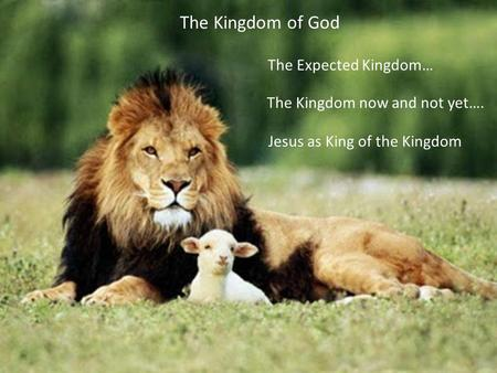 The Kingdom now and not yet…. The Expected Kingdom… Jesus as King of the Kingdom The Kingdom of God.