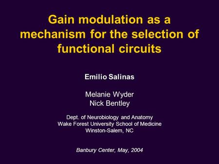 Gain modulation as a mechanism for the selection of functional circuits Emilio Salinas Melanie Wyder Nick Bentley Dept. of Neurobiology and Anatomy Wake.