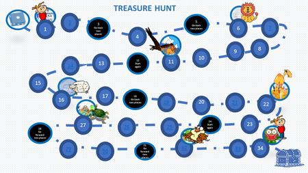 10 32 TREASURE HUNT 2 3 Go back two places 4 5 Go back two places 7 15 14 13 12 Start again 11 9 8 17 19 18 Go back two places 20 21 23 24 Start again.