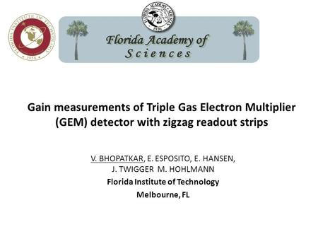 Gain measurements of Triple Gas Electron Multiplier (GEM) detector with zigzag readout strips V. BHOPATKAR, E. ESPOSITO, E. HANSEN, J. TWIGGER M. HOHLMANN.