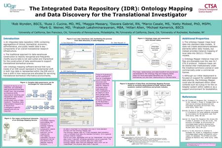 The Integrated Data Repository (IDR): Ontology Mapping and Data Discovery for the Translational Investigator 1 Rob Wynden, BSCS, 1 Russ J. Cucina, MD,