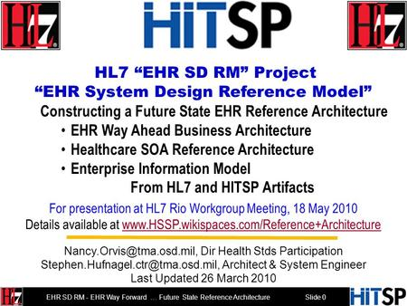 "Slide 0 EHR SD RM - EHR Way Forward … Future State Reference Architecture HL7 ""EHR SD RM"" Project ""EHR System Design Reference Model"" Constructing a Future."