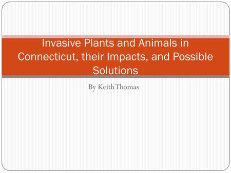 By Keith Thomas Invasive Plants and Animals in Connecticut, their Impacts, and Possible Solutions.