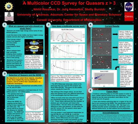 A Multicolor CCD Survey for Quasars z > 3 Nikhil Revankar, Dr. Julia Kennefick, Shelly Bursick University of Arkansas, Arkansas Center for Space and Planetary.