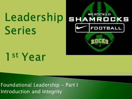 Foundational Leadership - Part I Introduction and Integrity.