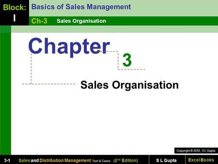 Copyright © 2010, S L Gupta Excel Books Sales and Distribution Management Text & Cases ( 2 nd Edition) S L Gupta3-1 Sales Organisation Basics of Sales.