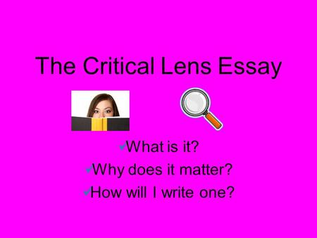Lens Essay Outline