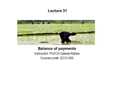 Balance of payments Instructor: Prof.Dr.Qaisar Abbas Course code: ECO 400 Lecture 31.