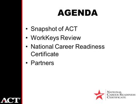 AGENDA Snapshot of ACT WorkKeys Review National Career Readiness Certificate Partners.