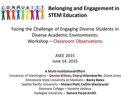Facing the Challenge of Engaging Diverse Students in Diverse Academic Environments: Workshop – Classroom Observations ASEE 2015 June 14, 2015 A Multi-Institutional.
