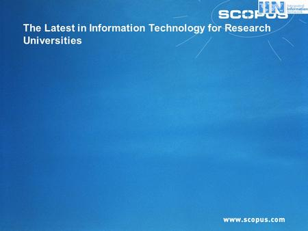 The Latest in Information Technology for Research Universities.