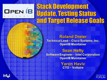 Roland Dreier Technical Lead – Cisco Systems, Inc. OpenIB Maintainer Sean Hefty Software Engineer – Intel Corporation OpenIB Maintainer Yaron Haviv CTO.
