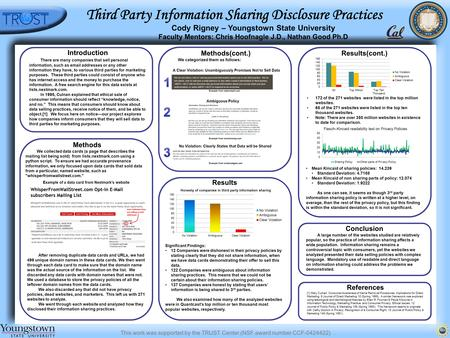 This work was supported by the TRUST Center (NSF award number CCF-0424422) Third Party Information Sharing Disclosure Practices Cody Rigney – Youngstown.